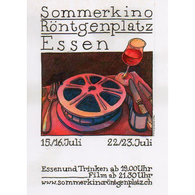 Sommerkino Röntgenplatz, Illustration für einen Flyer, Illustration