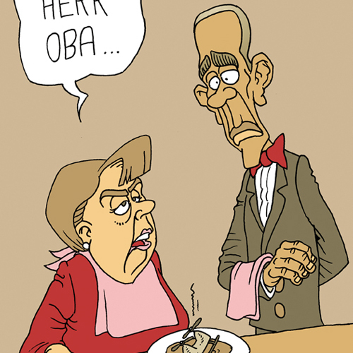 Merkel und Obama: Herr Oba, Cartoon