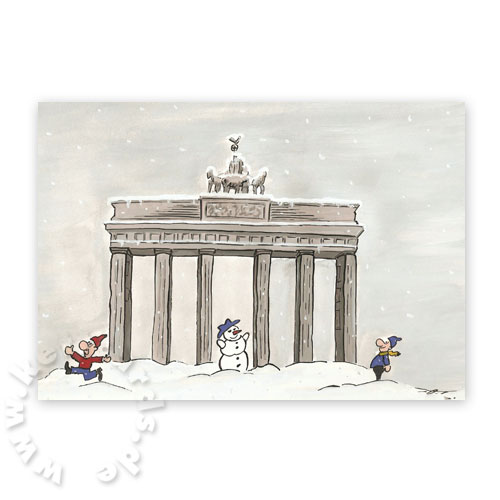 Berlin, Brandenburger Tor, Cartoon-Weihnachtskarten